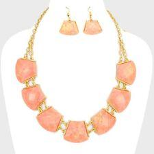 Opal Pink Peach Stones Gold Tone Chain Bib Collar Necklace Set