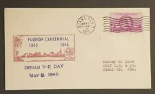1945 Miami FL Official VE Day And Florida Centennial Patriotic Cover