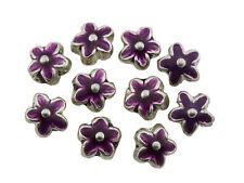 Purple Enamelled Silver Metal Flower Beads 15mm Pack of 10 (D13/6)