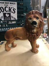 """More details for antique standing staffordshire lion glass eyes 12"""""""