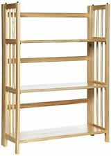 "NEW  3 Shelf Folding Stackable Bookcase, Natural, 38"" Height"
