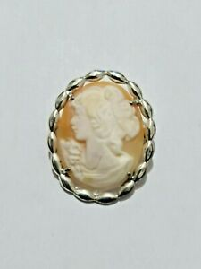 Fabolous Vintage Chunky Large Carved Cameo Brooch sterling silver #7565