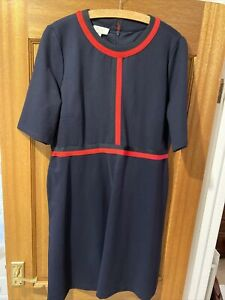Hobbs Navy And Red Dress, Size 18