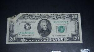 "1950 - $20.00 ERROR BILL - ""DOUBLE"" DOG EAR - TWO FOLDS - SERIES C - AU"