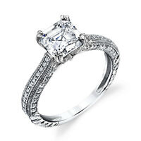Asscher Cut CZ Sterling Silver Bridal CZ Engagement Wedding Ring Cubic Zirconia