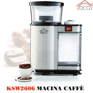 Macinacaffè Elettrico DCG Macina Trita Chicchi Caffè 120W Timer+Spazzola Pulizia