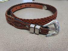 Vogt Sterling Silvet Brown Leather Braided Belt Size 30