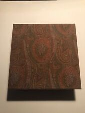 ETRO PAISLEY FABRIC BOX WITH LEATHER TRIM