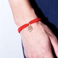 Glück handgemachte Seil Manschette Armband Kristall Anhänger Armreif Thread Z MW