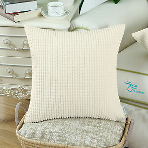 Square Throw Pillow Cover Cushion Cases Solid Corduroy Corn Stripes 20x20 Inches