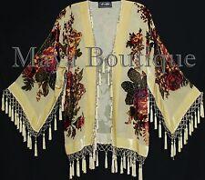 Victorian Rose Jacket Short Kimono Beaded Silk Velvet Vanilla Maya Matazaro