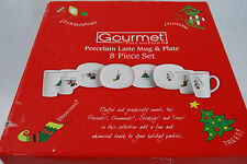 Fitz and Floyd 8 Piece Gourmet Porcelain Latte Mug & Plate Set - NIB