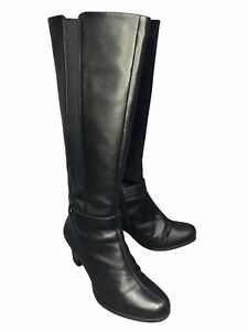CLARKS Womens Black Leather Knee Length Mid Heel Boots Size UK 4 Standard Fit
