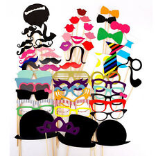 58 Pcs Funny Photo Booth Props Moustache Lips Hat on A Stick for Birthday Party
