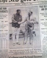 Best BABE RUTH New York Yankees Contract Signing & Photo 1930 NY Times Newspaper