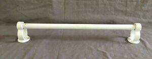 "Antique 18"" White Porcelain Cast Iron Towel Bar Holder Rack Old Vtg 234-20E"