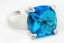 BLUE TOPAZ CHECKERBOARD 6.80 Cts RING Silver Plated* New With Tag - Size 6.75