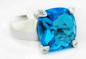BLUE TOPAZ CHECKERBOARD 6.80 Cts RING Silver Plated* New With Tag - Size 8.5