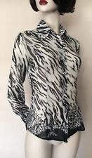 Versace Jeans Couture 100% Silk Black/White/Grey Animal Print Shirt Blouse S