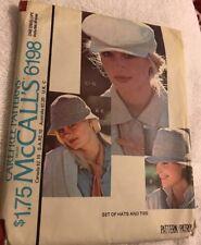 Vintage McCall's Sewing Pattern 6198 Fedora Hats & Ties 1978 Uncut