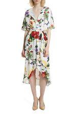ALICE + OLIVIA White Wildflower Floral Jacquard CLARINE Wrap VNeck Midi Dress 10