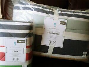 Pottery Barn Kids Tanner Stripe Twin Comforter Quilt Standard Sham multi colors