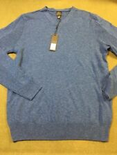 Oxford New York Mens Wool Blend V-Neck Sweater Blue Panel Size Small Pullover