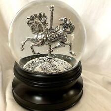 Beautiful Water Snow Globe Silver Carousel Horse ~ LED Light & Snow Blows 5 Min.
