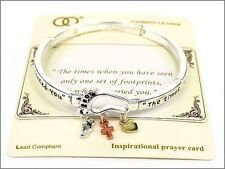 Silver Tone Religious Footprint Stretch Bracelet With Multi Color Charms