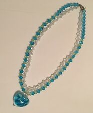 Beaded Costume Jewelry Necklace - Pretty Beads With Glass Heart Pendant