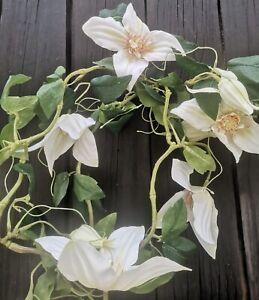 Blumen Girlande weiß 165cm Deko Blumengirlande Clematis Dekogirlande Blütengirla