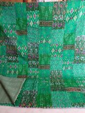 Indian king quilt indian silk green patola kantha patchwork handmade blanket
