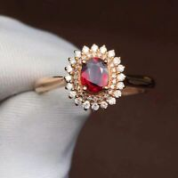 2Ct Oval Cut Red Garnet Diamond Double Halo Engagement Ring 14K Rose Gold Finish