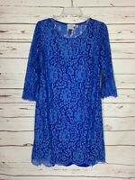 HD In Paris Anthropologie Women's M Medium Blue Lace Floral Spring Dress $148
