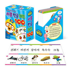 Korean Alphabet PORORO 100 Cards HANGUL Study Vocabulary Picture Flash Cards