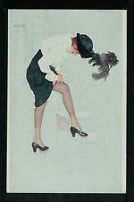 02-POSTCARD:SIGNED RAPHAEL KIRCHNER:Beautiful Woman Fixing Her Stocking Art Deco