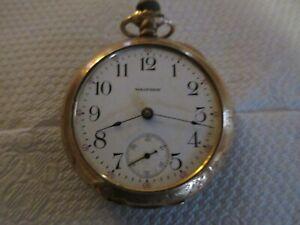 Waltham Vintage Pocket Watch 14K GOLD 17 Jewels SIGNED designed on covers NICE!!