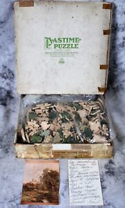 """Antique 1933 Wood Jig Saw Pastime Puzzle """"Maravatio In Old Mexico"""" 405 pc Moran"""