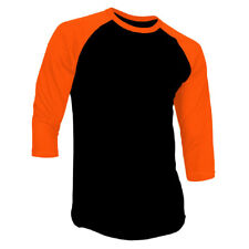 New 3/4 Sleeve Raglan Baseball Mens Plain Tee Jersey Team Sports T-Shirt S-3XL