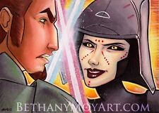 Star Wars Rebels Kanan & Seventh 7th Sister Original Sketch Card OOAK lightsaber