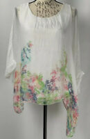 Elena Baldi Top NWT Women's 100% Silk White And Floral Blouse Size Small