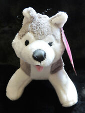 "8"" Gray & Tan Siberian Husky Soft Plush Squeak Fetch Play Happy Dog Toy NWT"
