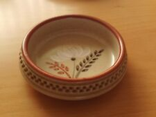 "Vintage Purbeck Pottery Floral Trinket Dish ~ 3 1/4"" Across Top."