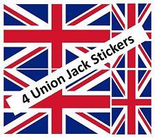 4 X UNION JACK FLAG GREAT BRITAIN VINYL ENGLAND CAR VAN IPAD LAPTOP STICKER