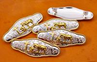 6X Gold Silver Praying Cowboy Leathercraft Western Horse Saddles Belt Conchos