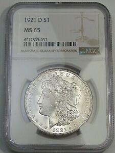 1921-d Silver US Morgan Dollar. NGC MS65 (HTG in High Grades - Blast White) #102