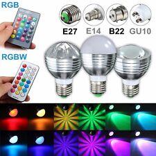 85-265V 5W/9W E27/B22/GU10/E14 RGB RGBW LED Light Color Change Lamp Bulb+Remote