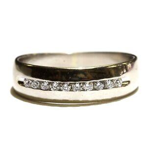 14k white gold .25ct round diamond mens channel set wedding band 4.8g gents 10
