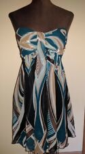 NWT Strapless Brown Aqua Express Sweetheart Neckline Layered Silk Chiffon size 4