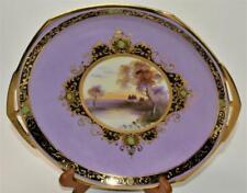 "1920s MORIMURA NORITAKE Japan Hand Painted Purple LANDSCAPE 9""d Handled Bowl"